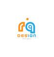 rq r q orange blue alphabet letter logo vector image vector image