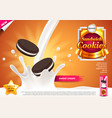 sandwich cookies in pouring milk ads background vector image vector image