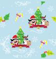 santa claus and penguin christmas seamless vector image