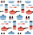 seamless pattern with cookware for cooking food vector image