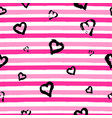 seamless pattern with hand drawn heart on striped vector image vector image