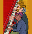 several musicians play the same piano music vector image