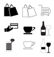 shopping bags - business finance - coffee - wine vector image vector image
