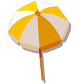 Single umbrella with yellow and white striped vector image vector image