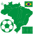 Soccerball on map of Brazil vector image