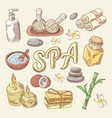 spa and wellness hand drawn doodle with lotus vector image vector image