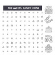 sweets candy editable line icons 100 set vector image vector image