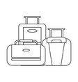 travel luggage concept black and white vector image vector image