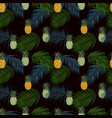 tropical leaves and pineapple seamless pattern vector image