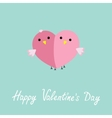 two pink birds in shape half heart love cart vector image vector image