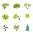 Types of trees icons set cartoon style vector image vector image