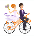 Couple in love on tandem bicycle vector image