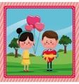 girl balloons heart boy gift valentine day rural vector image