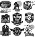 Halloween vintage badges emblems or labels vector image