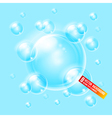 Soap bubbles on blue background Background can be vector image