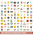 100 creative marketing icons set flat style vector image vector image