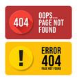 404 error page not found speech set pop up errors vector image vector image