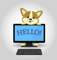a cute corgi dog is behind black computer with the vector image