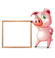 A female pig beside an empty wooden frame vector image vector image