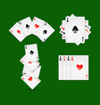 aces set on green play field at casino vector image vector image