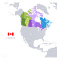 administrative colorful canada map vector image vector image