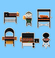 barbecue grill with food isolated labels set vector image vector image