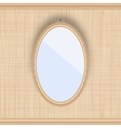 Blank oval picture frame on a beige wall with vector image