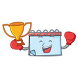 boxing winner calendar mascot cartoon style vector image