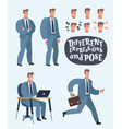 business men character set in various poses flat vector image