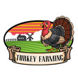 cartoon turkey farming vector image vector image