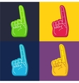 color set of foam fingers vector image