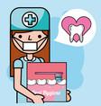 dentist girl holding oral hygiene brushing teeth vector image