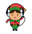 elf or santas helper with music player and vector image