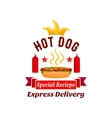 fast food hot dog express delivery emblem vector image