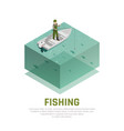 fishing alone isometric background vector image vector image