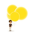 flat boy child air balloon funny hat vector image vector image