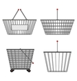 Four realistic metallic chrome wire empty baskets vector image vector image