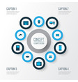gadget icons colored set with laptop player vector image