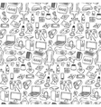 Gamer doodle seamless pattern vector image