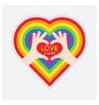hands showing heart symbol hands and love is love vector image vector image