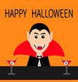 happy halloween count dracula head face wearing vector image vector image