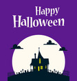 happy halloween on background of the moon vector image vector image