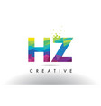 hz h z colorful letter origami triangles design vector image vector image