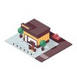 isometric scene with 3d grocery store shop vector image