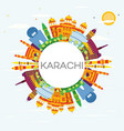 karachi skyline with color landmarks blue sky and vector image vector image