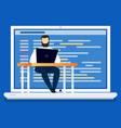man using computer coding and programming vector image vector image