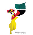 map mozambique with flag vector image vector image