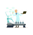 mature male scientist working with robotic arm vector image vector image