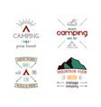 mountain camping logos set hand drawn hiking vector image vector image