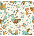 Natural floral Seamless background with birds vector image vector image